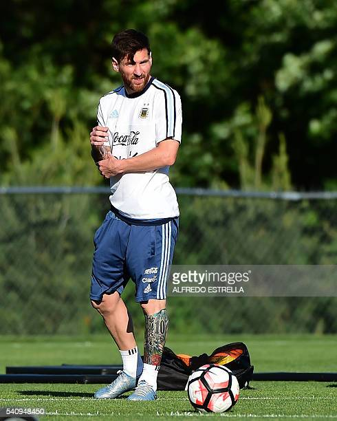 Argentina´s player Lionel Messi practices during a training session at the Quest Diagnostics in East Rutherford New Jersey on June 24 2016 Argentina...
