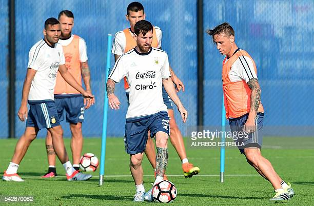 Argentina´s player Lionel Messi practicse during a training session at the Quest Diagnostics in East Rutherford New Jersey on June 24 2016 Argentina...