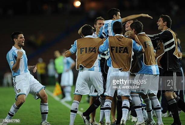 Argentina's player Lucas Villafanez celebrates with teammates after scoring against North Korea during their FIFA U20 World Cup football tournament...