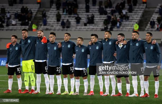 Argentina's players are seen before the start of their South American qualification football match for the FIFA World Cup Qatar 2022 against Bolivia...