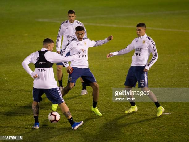 Argentina´s players attend a training session at Ciudad Deportiva Antonio Asensio in Palma de Mallorca on November 11 2019