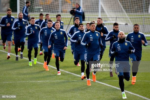 Argentina's players attend a training session in Madrid on March 25 2018 ahead of an international friendly football match between Spain and...