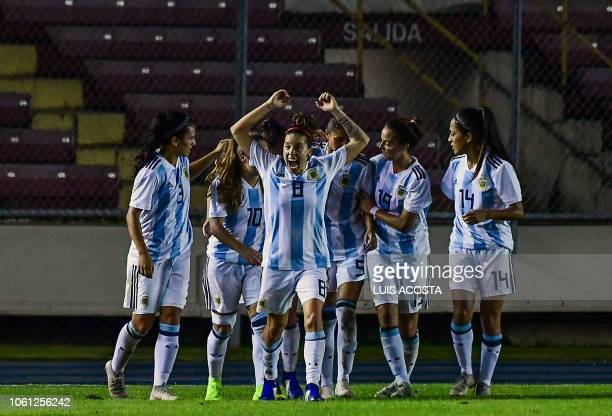 Argentina's players celebrate a goal against Panama during a Women's World Cup 2019 second leg qualifier football match at the Romel Martinez Stadium...