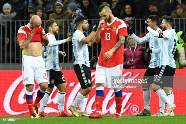 Argentina's players celebrate a goal during an international friendly football match between Russia and Argentina at the Luzhniki stadium in Moscow...