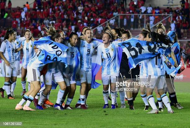 Argentina's players celebrate thier world cup qualification during the Second leg play off qualifying soccer match for the Women's World Cup...