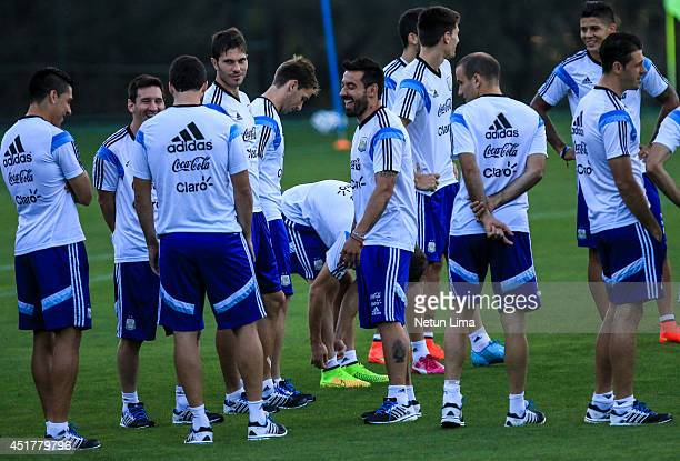 Argentina's players during the Argentina training session at Cidade do Galo on July 6 2014 in Vespasiano Brazil