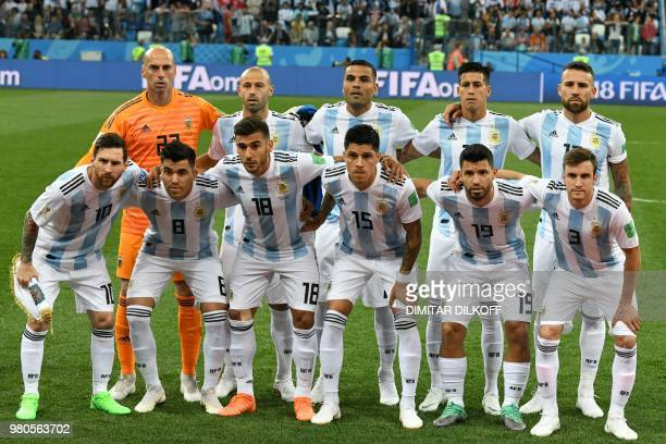 Argentina's players goalkeeper Willy Caballero midfielder Javier Mascherano defender Gabriel Mercado midfielder Maximiliano Meza defender Nicolas...