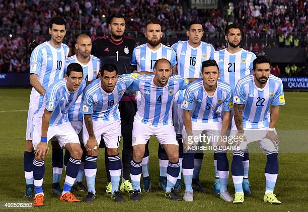 Argentina's players pose for pictures before the start of their Russia 2018 FIFA World Cup South American Qualifiers football match against Paraguay...