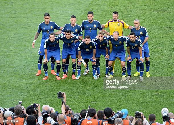 Argentina's players pose prior to the final of the FIFA World Cup 2014 between Germany and Argentina at the Maracana stadium in Rio de Janeiro Brazil...