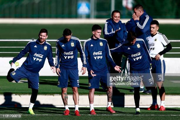 Argentina's players take part in a training session at Real Madrid's training facilities of Valdebebas in Madrid on March 20 ahead of an...
