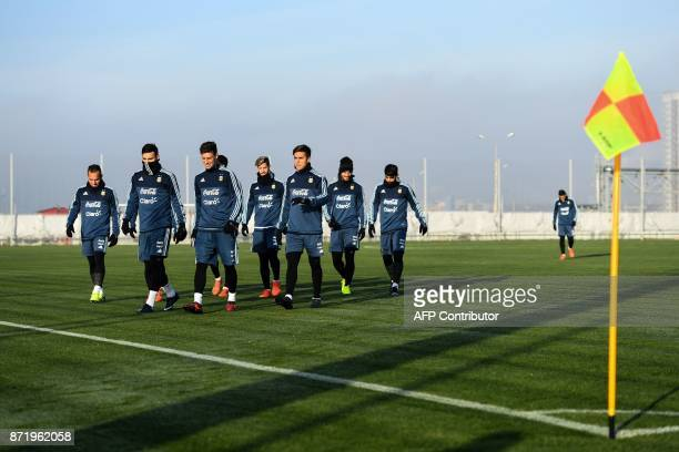 Argentina's players take part in a training session in Moscow on November 9 2017 The team will face Russia and Nigeria in friendly matches on...