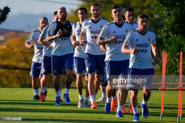 Argentina's players train during a practice session in Belo Horizonte Brazil on July 1 on the eve of the Copa America tournament semifinal football...