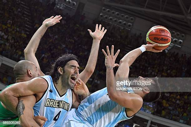 TOPSHOT Argentina's point guard Facundo Campazzo takes a shot in the last seconds of a Men's round Group B basketball match between Argentina and...