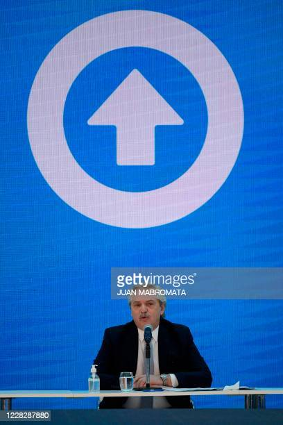 Argentina's President Alberto Fernandez speaks during the announcement of the restructure of a $66 billion foreign-law debt, during a ceremony at...