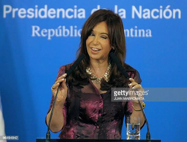 Argentina's President Cristina Fernandez de Kirchner confirms the removal of Martin Redrado as president of Argentina's Central Bank during a news...