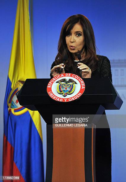 Argentina's President Cristina Fernandez de Kirchner gestures as she speaks during a joint press conference with Colombian President Juan Manuel...