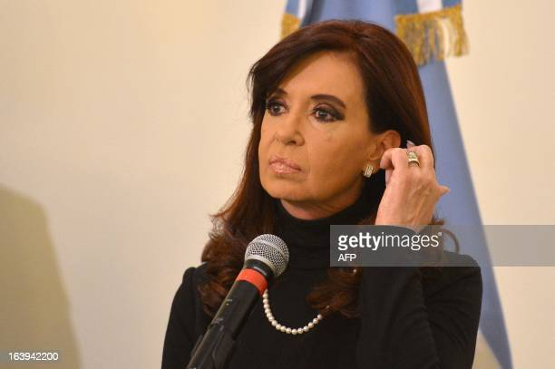 Argentina's President Cristina Fernandez de Kirchner speaks during a press conference on March 18 2013 in Rome on the eve of Pope Francis...