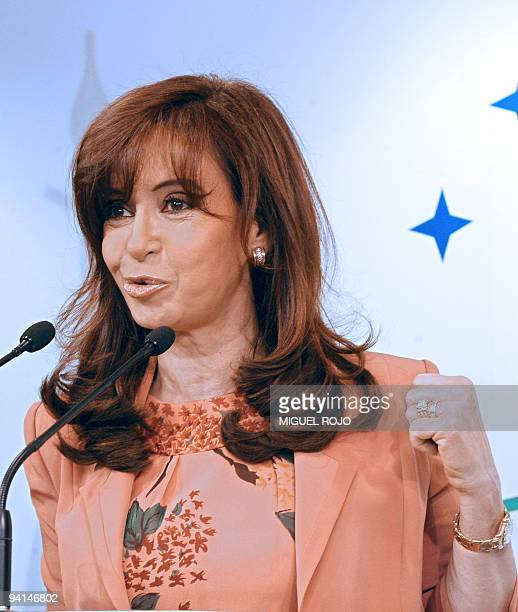 Argentina's President Cristina Kirchner gives a press conference after the presidential meeting of the Mercosur Summit in Montevideo on December 8...