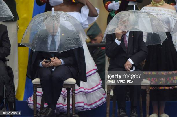 Argentina's President Mauricio Macri and Chile's President Sebastian Pinera attend the inauguration of Colombia's new President Ivan Duque at Bolivar...