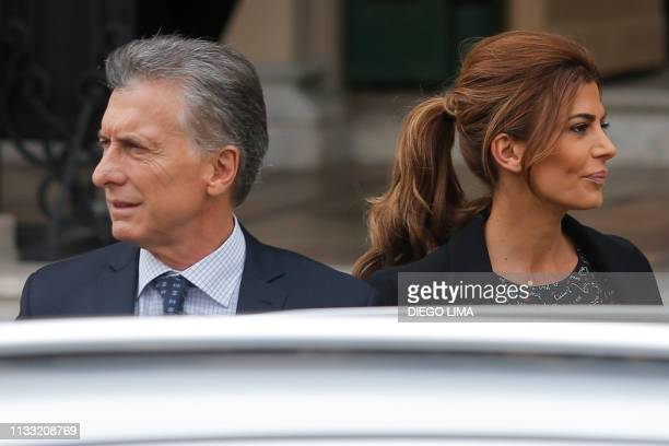 Argentina's President Mauricio Macri and his wife First Lady Juliana Awada arrive to the VIII International Congress of the Spanish Language at the...