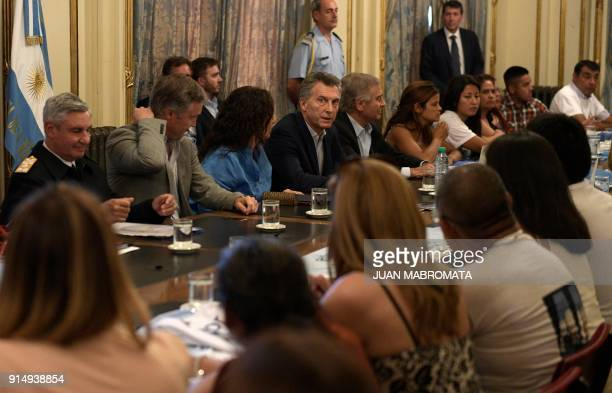 Argentina's President Mauricio Macri Argentina's VicePresident Gabriela Michetti and Defense Minister Oscar Aguad meet relatives of the crew members...
