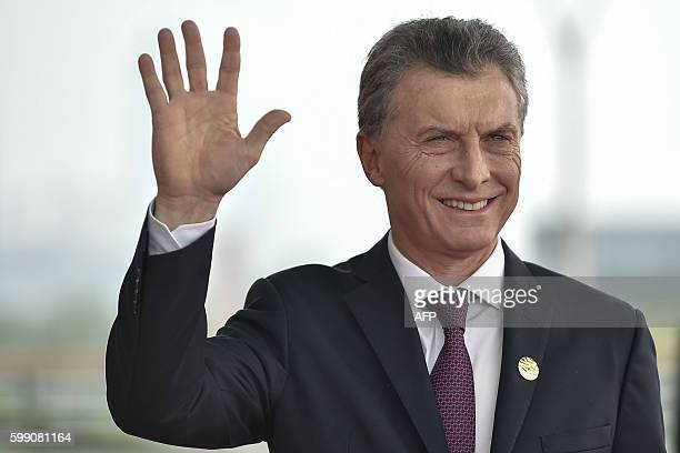 Argentina's President Mauricio Macri arrives at the Hangzhou International Expo Center to attend the G20 Summit in Hangzhou on September 4, 2016....