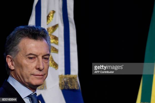 Argentina's President Mauricio Macri is seen upon arrival to attend the plenary session of the Mercosur Summit in Mendoza 1050 km to the west of...