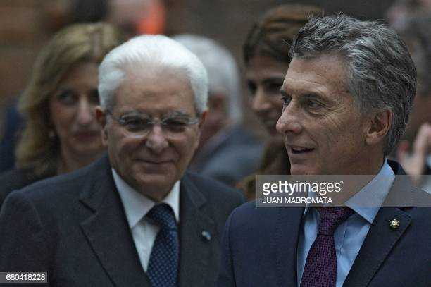 Argentina's President Mauricio Macri Italy's President Sergio Mattarella her daughter Laura and Argentina's first lady Juliana Awada arrive for the...