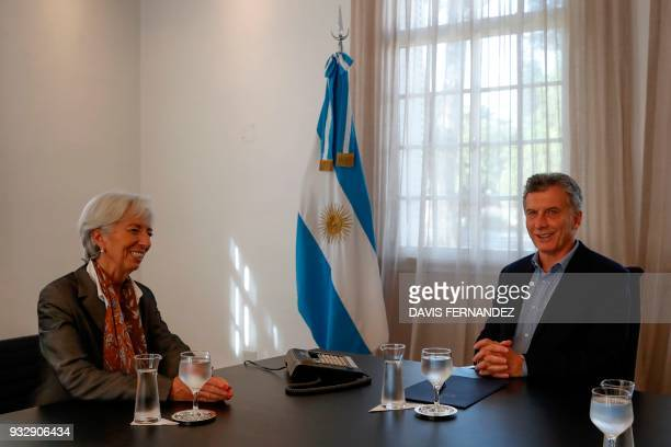 Argentina's President Mauricio Macri meets with IMF Managing Director Christine Lagarde at Olivos presidential residence in Olivos Buenos Aires on...