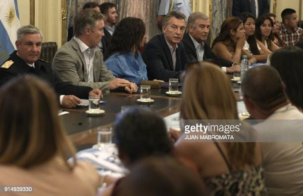 Argentina's President Mauricio Macri VicePresident Gabriela Michetti and Defense minister Oscar Aguad meet with relatives of the crew members of the...