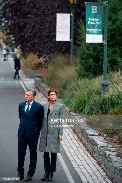 Argentinas Presidnet Mauricio Macri and Frist Lady Juliana Awada attend a ceremony on a bike path in New York on November 6 to pay tribute to the...