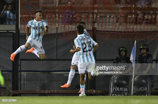Argentina's Racing Club forward Lautaro Martinez celebrates after scoring a goal against Brazil's Cruzeiro during their Copa Libertadores 2018 Group...