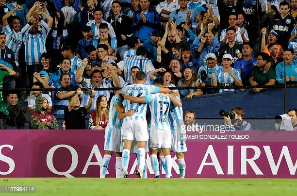 Argentina's Racing Club players celebrate a goal against Brazil's Corinthians during a Copa Sudamericana first round second leg football match at...