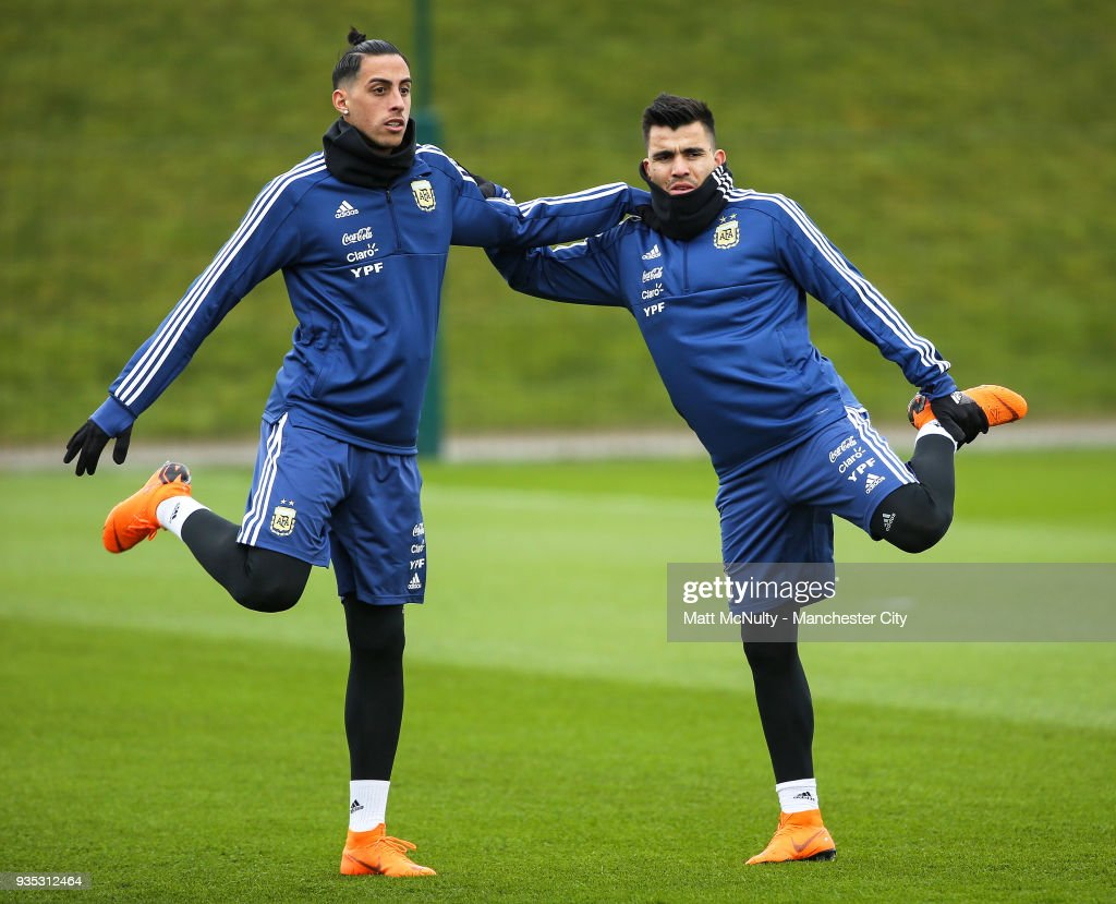 Argentina's Ramiro Funes Mori and Marcos Acuna during the training session at Manchester City Football Academy on March 20, 2018 in Manchester, England.