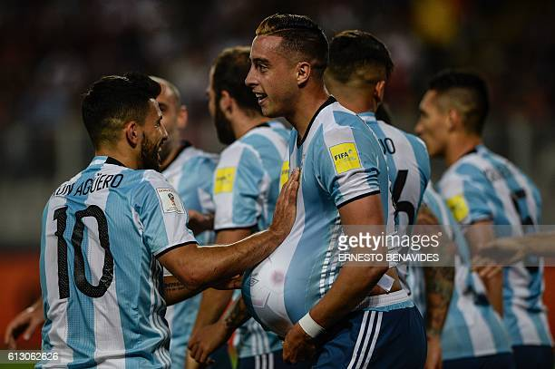 Argentina's Ramiro Funes Mori celebrates after scoring against Peru during their Russia 2018 World Cup football qualifier match in Lima on October 6...
