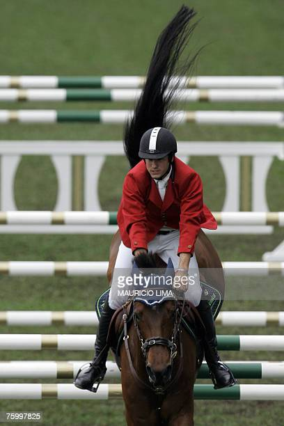 Argentina's rider Matias Albarracin jumps with his horse Gama CocouAS during the 145m jumping event of the 1st Athina Onassis International Horse...