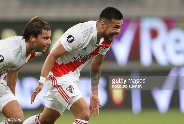 Argentina's River Plate Chilean Paulo Diaz celebrates after scoring against Brazil's Athletico Paranaense during the closed-door Copa Libertadores...