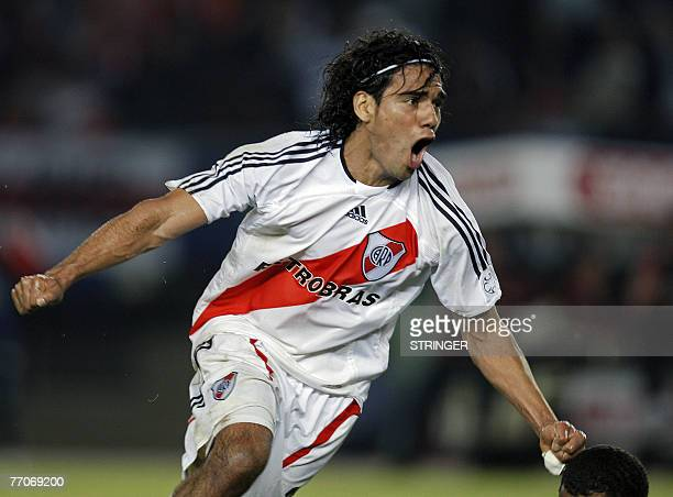 Argentina's River Plate forward Radamel Falcao Garcia celebrates after scoring against Botafogo of Brazil during their Copa Sudamericana football...