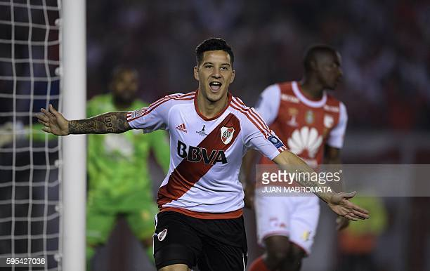 Argentina's River Plate forward Sebastian Driussi celebrates after scoring a goal against Colombia's Independiente Santa Fe during their Recopa...
