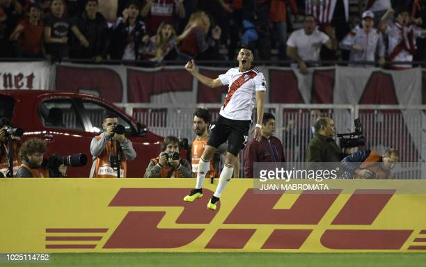 Argentina's River Plate midfielder Exequiel Palacios celebrates after scoring the team's second goal against Argentina's Racing Club during the Copa...