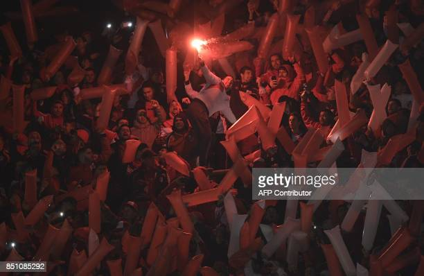 Argentina's River Plate supporters cheer for their team during the Copa Libertadores 2017 quarterfinals second leg football match against Bolivia's...