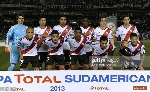 Argentina's River Plate team poses during their Copa Sudamericana 2013 round before quarterfinals second leg football match against Ecuador's Liga de...