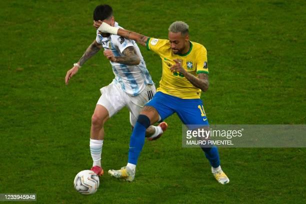 Argentina's Rodrigo De Paul and Brazil's Neymar vie for the ball during the Conmebol 2021 Copa America football tournament final match at the...