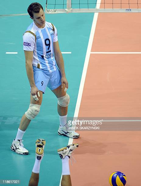 Argentina's Rodrigo Quiroga reacts after loosing the ball against Brazil during their Volleyball World League semifinal game in Gdansk on July 9 2011...