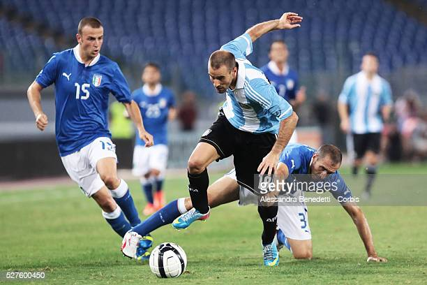 Argentina's Rodruguo Palacio and Italy's Daniele Luca Antonelli during a friendly soccer match during a friendly Soccer Match played by Italy and...