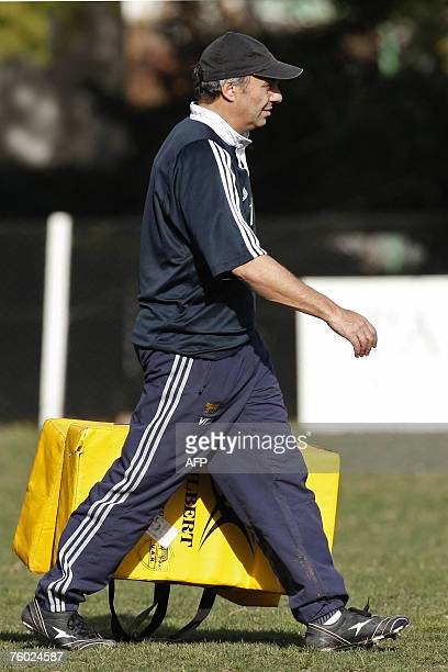 Argentina's rugby national team coach Marcelo Loffreda carries training stuff during a training session in Buenos Aires 08 August 2007 Los Pumas will...