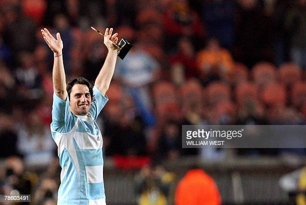 STORY Argentina's scrumhalf and captain Agustin Pichot celebrates after the rugby union World Cup third place final match France vs Argentina 19...