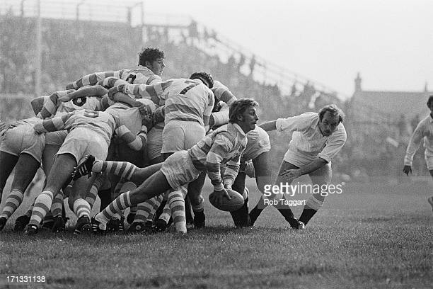 Argentina's scrum-half Ricardo Landajo gets the ball away from the scum during a match against England on Argentina's British tour, Twickenham,...
