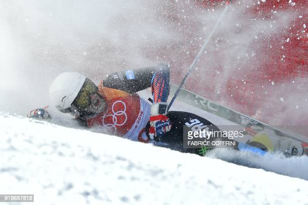 Argentina's Sebastiano Gastaldi falls while competing in the Men's Giant Slalom at the Jeongseon Alpine Center during the Pyeongchang 2018 Winter...