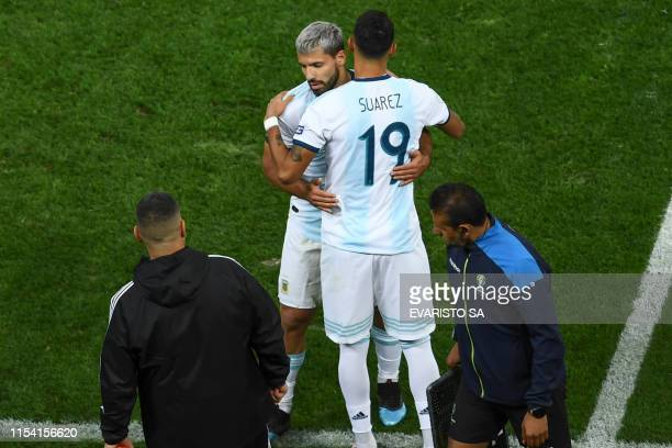 Argentina's Sergio Aguero is substituted by Matias Suarez during their Copa America football tournament thirdplace match against Chile at the...
